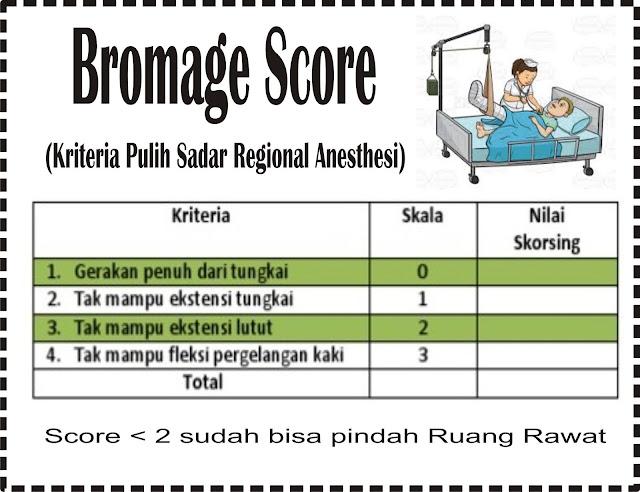Kriteria pulih sadar dengan regional Anastesi (Bromage Score)