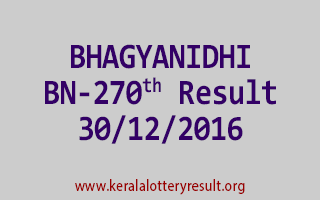 BHAGYANIDHI BN 270 Lottery Results 30-12-2016