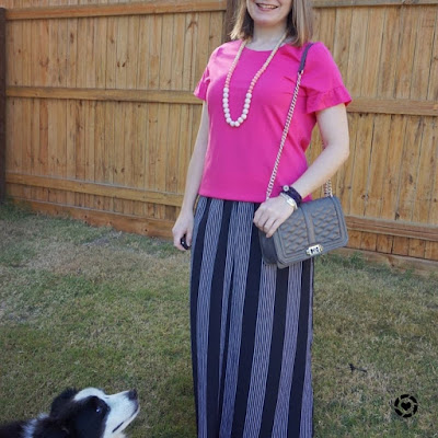 awayfromtheblue Instagram | fuchsia pink frill sleeve tee with vertical stripe maxi skirt mum style