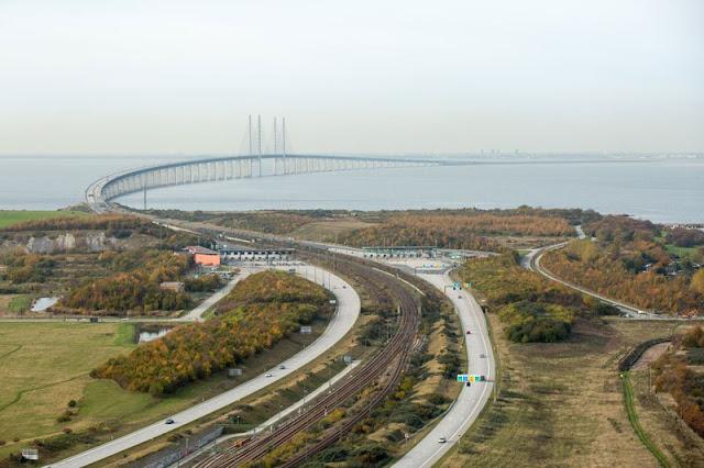 vista del puente Øresund desde suecia, vista aérea