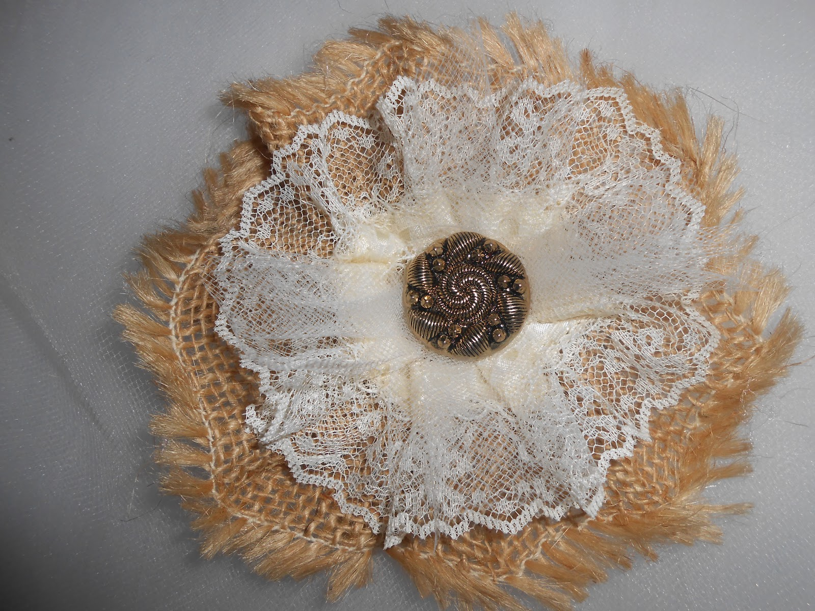 Cathy's Craft Corner: Burlap and Lace Flowers