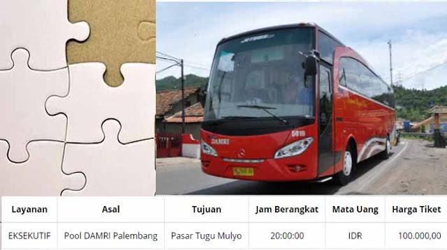 Jadwal Damri Palembang Tugumulyo & Harga Tiketnya