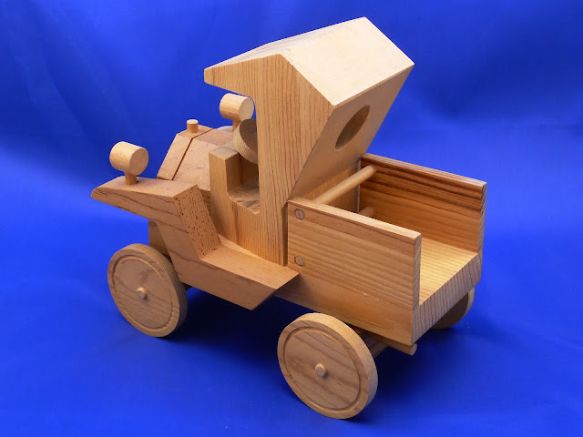 Left Rear - Handmade Wooden Toy Truck - Norm Marshall Model T Pickup Truck - Version 2