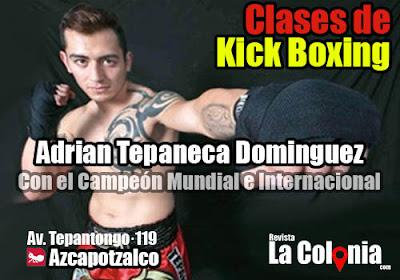 Clases de kickboxing con el campeón adrian tepaneca dominguez en Azcapotzalco cerca del metro azcapotzalco.