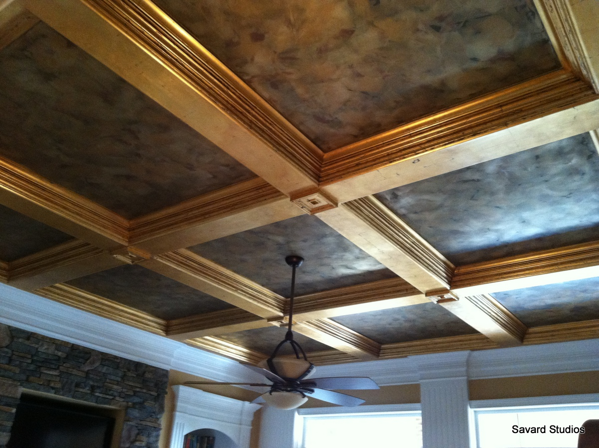 Savard Studios: Making Coffered Ceiling Trim Pop with Gold ...
