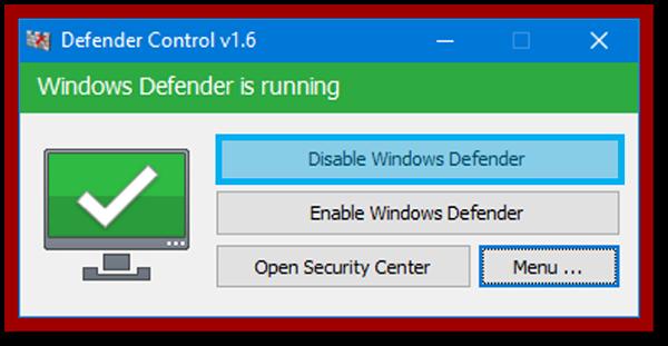 Menu Disable Windows Defender
