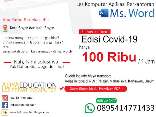 les aplikasi perkantoran ms. word dasar untuk kantor dan umum murah di bogor