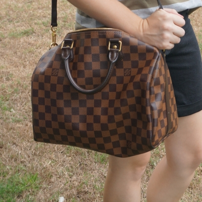 black denim shorts, Louis Vuitton Damier Ebene 30 speedy bandouliere | away from the blue