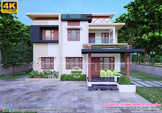 Modern flat roof Kerala home