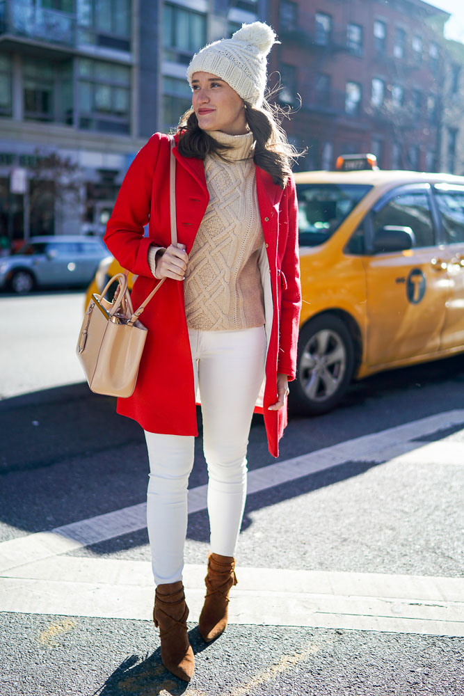 Krista Robertson, Covering the Bases,Travel Blog, NYC Blog, Preppy Blog, Style, Fashion Blog, Travel, Fashion, Style, Preppy Style, Blogger Style, Designer Coats, NYC Street Style, Winter Coats, Red Coats, White Winter Wear, Kate Spade Style