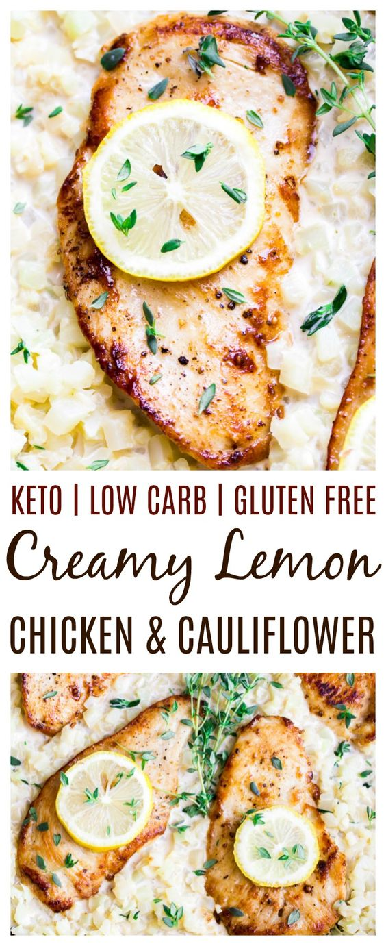Low Carb Skillet Creamy Lemon Chicken with Cauliflower