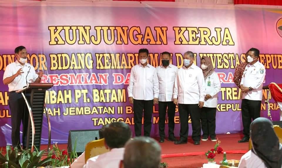 Walikota Batam Dampingi Menko Marves Resmikan Pabrik Pengolahan Limbah di Barelang