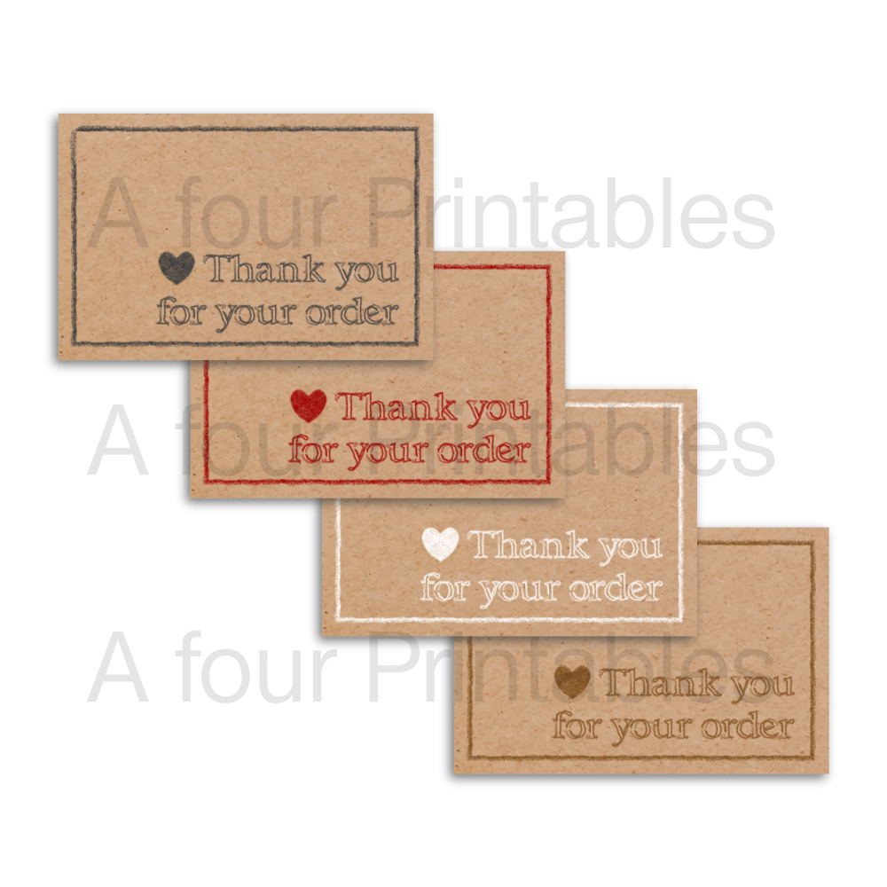 Rustic Kraft card effect 'Thank you for your order' business cards sample print.