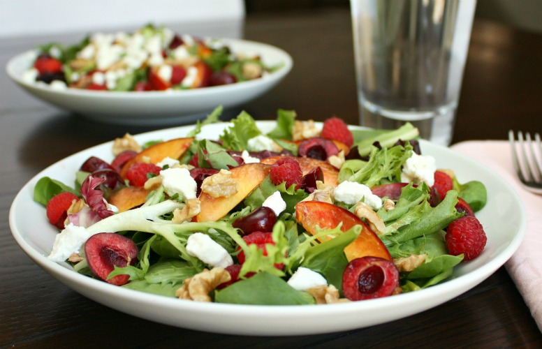 nectarine cherry goat cheese salad
