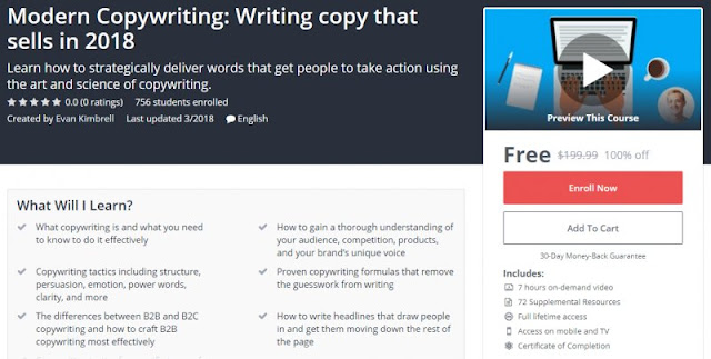 [100% Off] Modern Copywriting: Writing copy that sells in 2018| Worth 199,99$