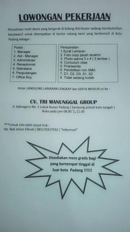Lowongan Kerja Padang Lowongan Kerja Di Padang Cv Tri Manunggal Group 7 Posisi Juli 2016