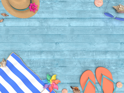 3D summer time on blue wooden background