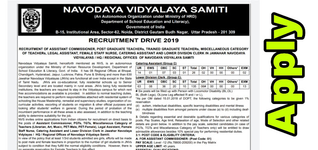 Navodaya Vidyalay Requirement | Invited Application for PGT, TGT, LDC and other 2370 vacancies | Govt Job 2019 medicineadvise.ooo