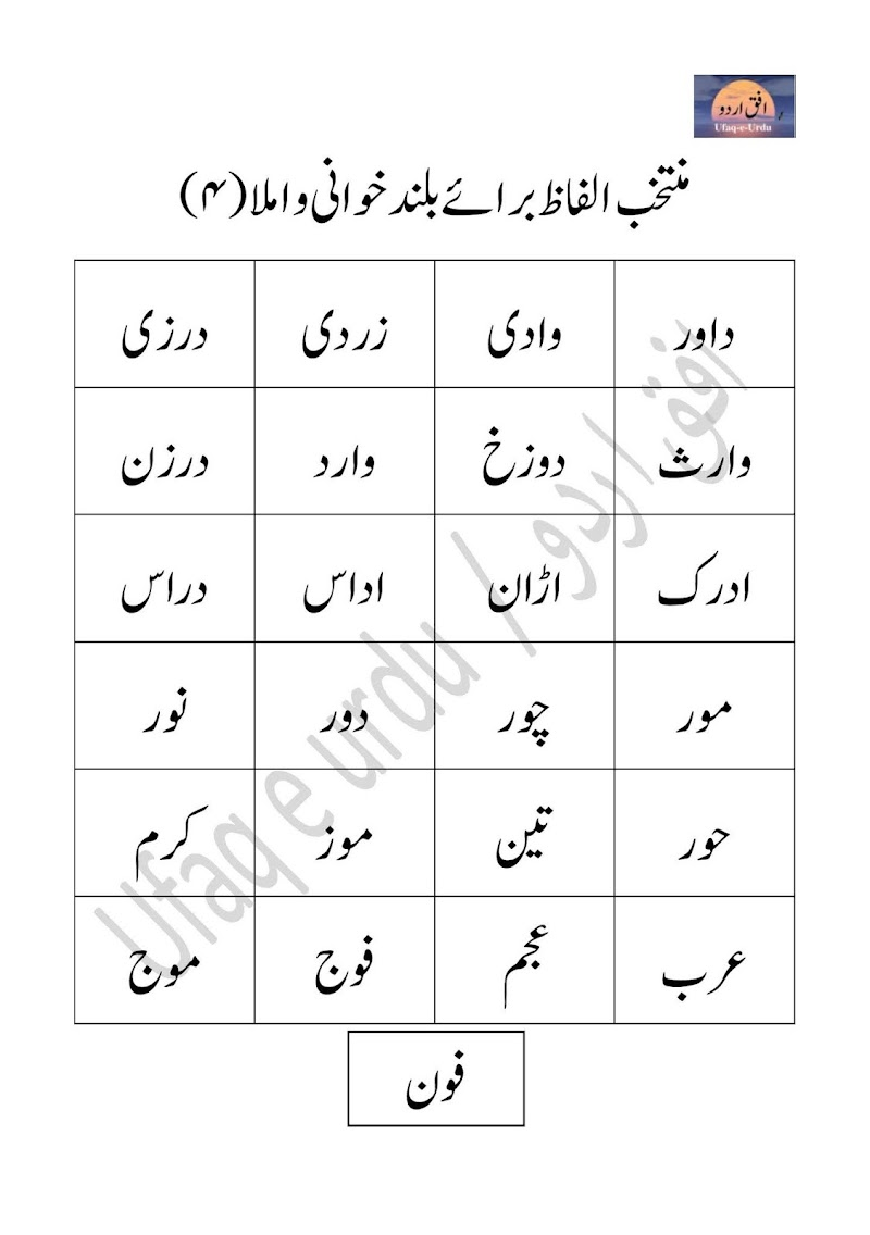 Urdu ke muntakhib alfaz  baraye baland khani wa imla (04)