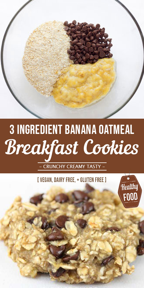 3 Ingredient Banana Oatmeal Cookies [ Gluten free ]