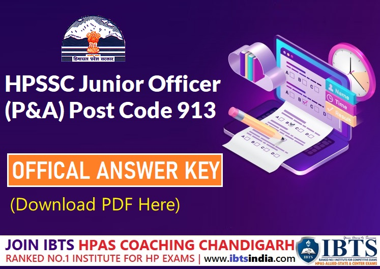 HPSSC Hamirpur Junior Officer (P&A) Post Code 913 Official Exam Answer key 2021 (Download PDF)