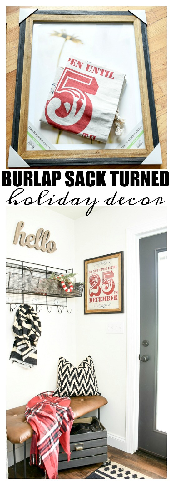 Burlap sack turned holiday decor, Christmas decor, mudroom