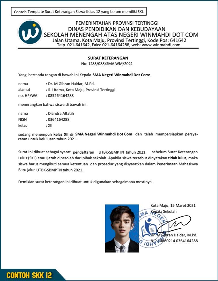 Contoh Surat Keterangan Kelas 12 Untuk UTBK SBMPTN