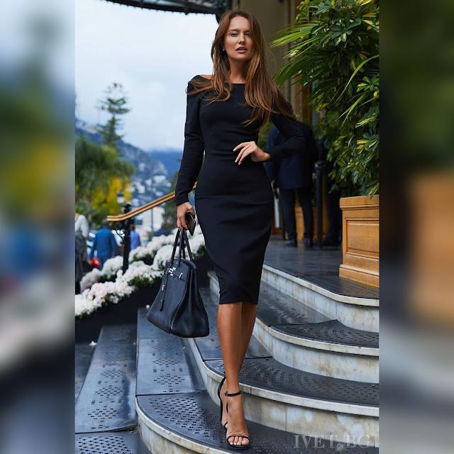 Μακρυμάνικο μεσάτο μίντι φόρεμα TAMMI BLACK
