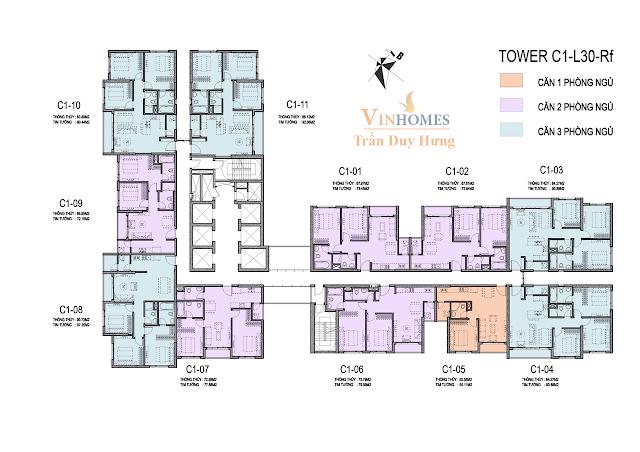 Mặt bằng tầng 30 tháp C1 dự án Vinhomes Trần Duy Hưng