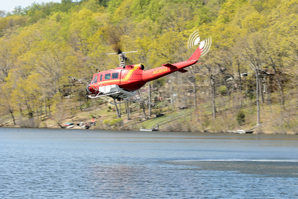 Helicopter flying over Lake Shannondale