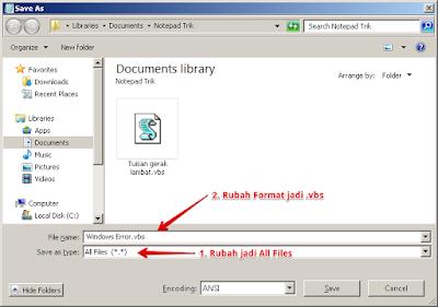 Membuat Peringatan Windows Error di Notepad