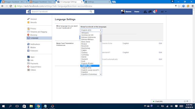 Facebook Language Settings set it as