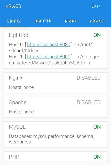 KSWEB local server status