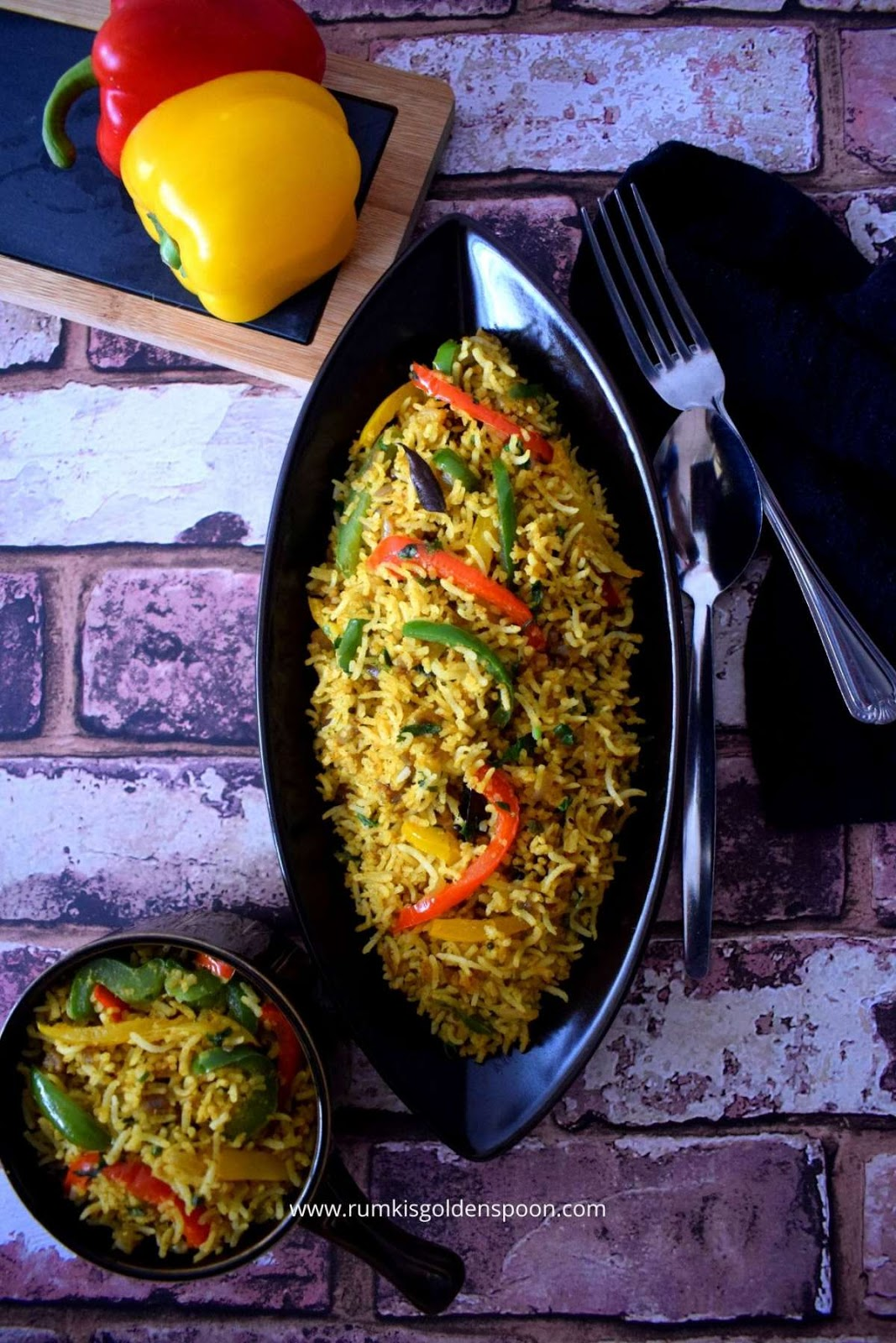 Capsicum Rice, capsicum rice recipe, Capsicum pulao, capsicum masala rice, recipe with capsicum, recipe of capsicum, recipe for capsicum, rice recipe, rice recipes, with rice recipe, rice recipe vegan, rice recipe with vegetables, bell pepper rice, vegan rice recipe, vegan rice recipes, leftover rice recipe, leftover rice recipes, recipe for leftover rice, recipe with leftover rice, Rumki's Golden Spoon