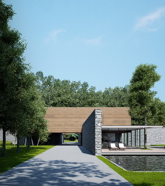 komposisi material pada desain rumah minimalis