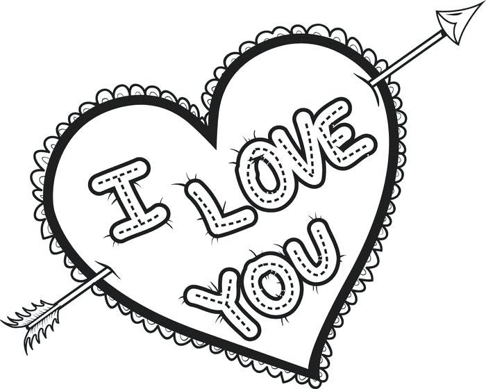 Dibujos de ILoveU Corazón para Colorear, Pintar e Imprimir