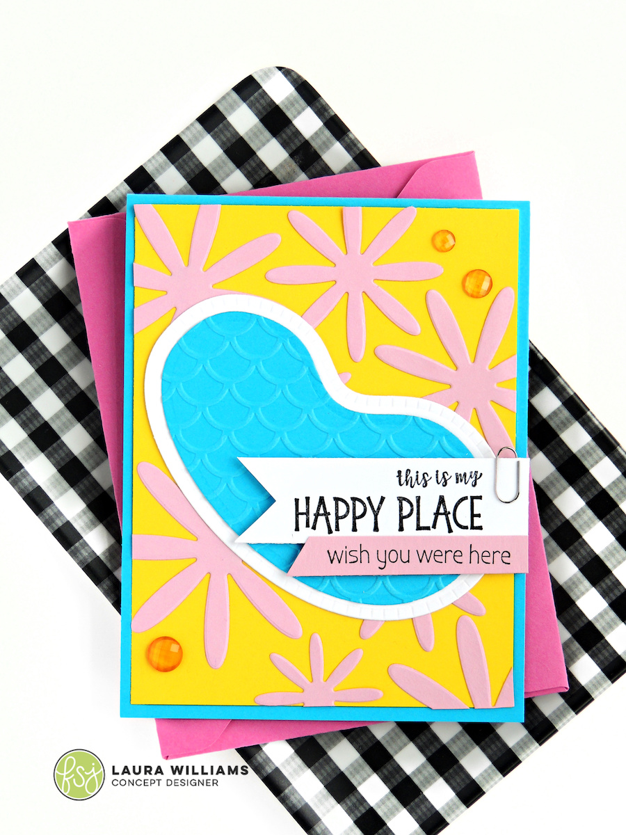 Make a handmade card for summertime with the Pool with a View die set from FSJ + Spellbinders. This die set is perfect for pool party invitations, and summer crafts and paper projects.