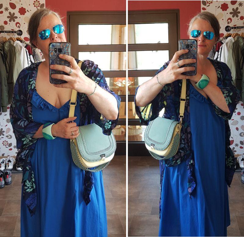 Hochsommerkleid mit Kimono und Zoe-Lu in Pastell kombiniert