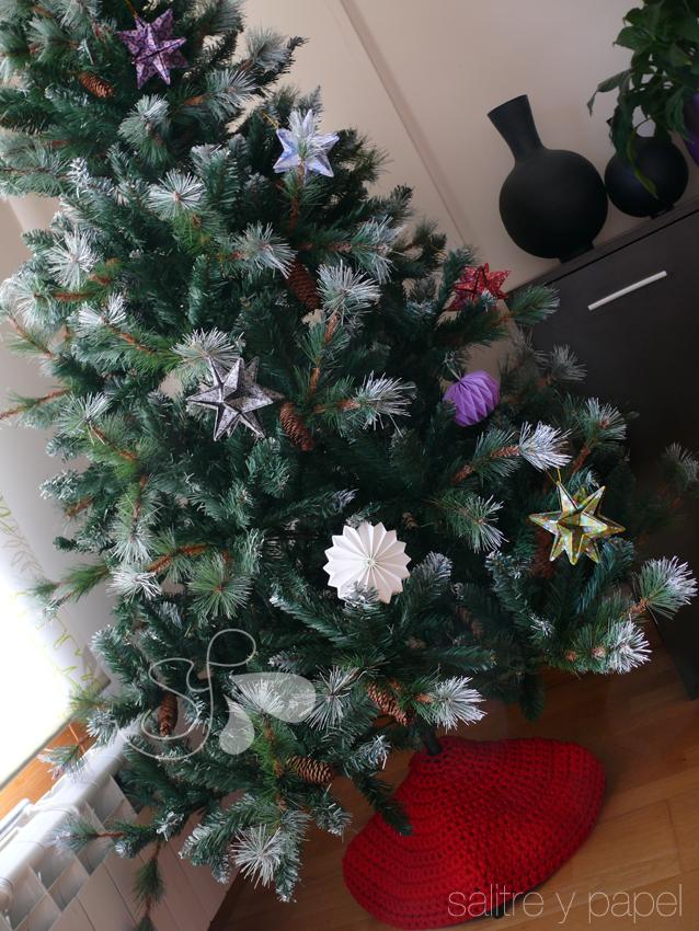 cubre pie de trapillo para árbol de navidad