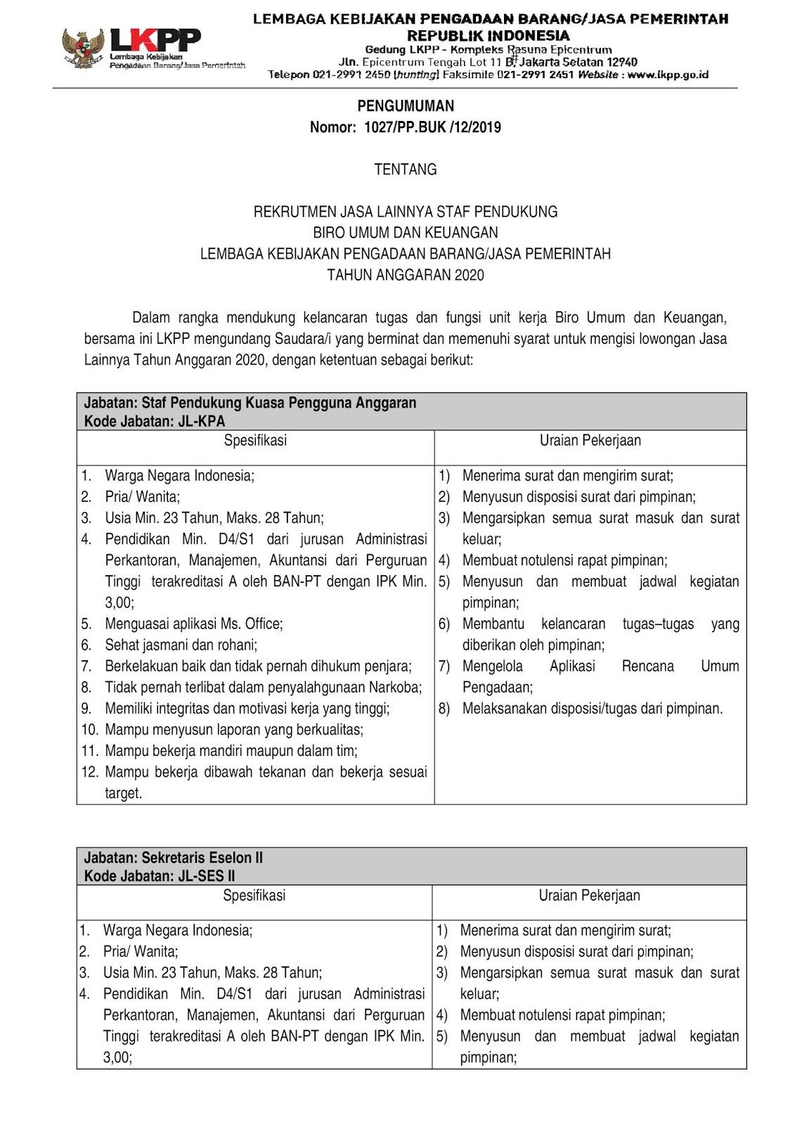 Rekrutmen Pegawai Non PNS Biro Umum dan Keuangan LKPP Januari 2020