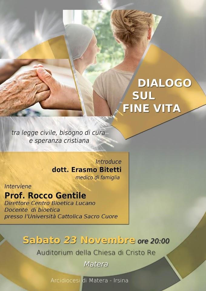Matera: sabato 23 novembre il convegno 'Dialogo sul fine vita'