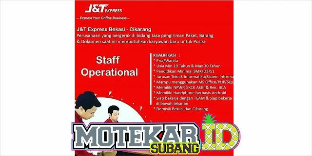 Lowongan Kerja Staff Operasional JNT Cikarang dan Bekasi 2019