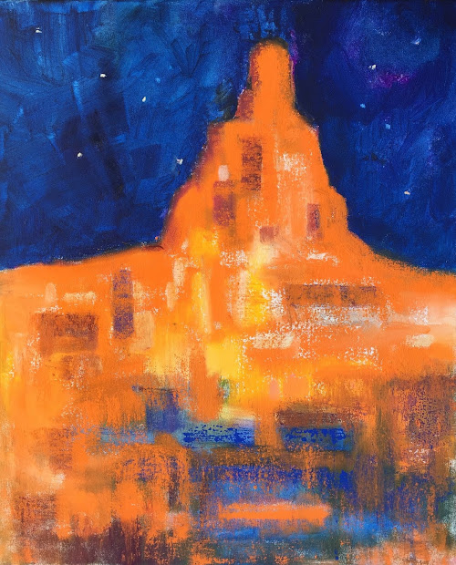 """Daily Painters Abstract Expressionistic Southwest Architecture """"sedona """" Amy Whitehouse"""