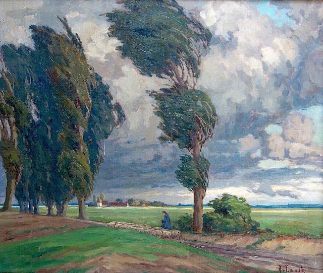 an Anna von Damnitz painting 1925? a woman herding sheep on a windy road