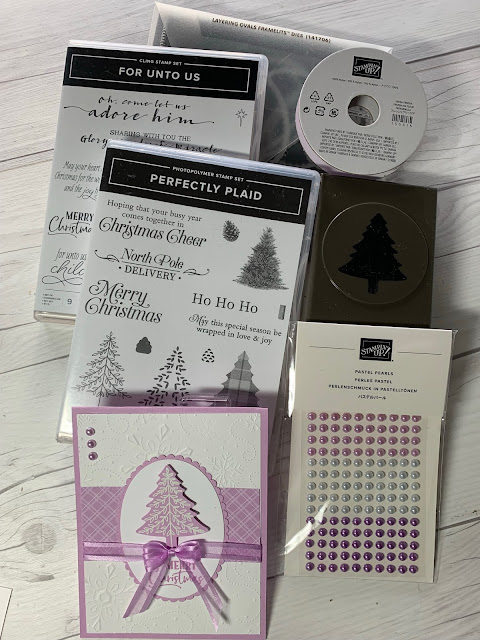 Tools used to create a handmade Christmas Card featuring Stampin' Up! Perfectly Plaid Stamp Set