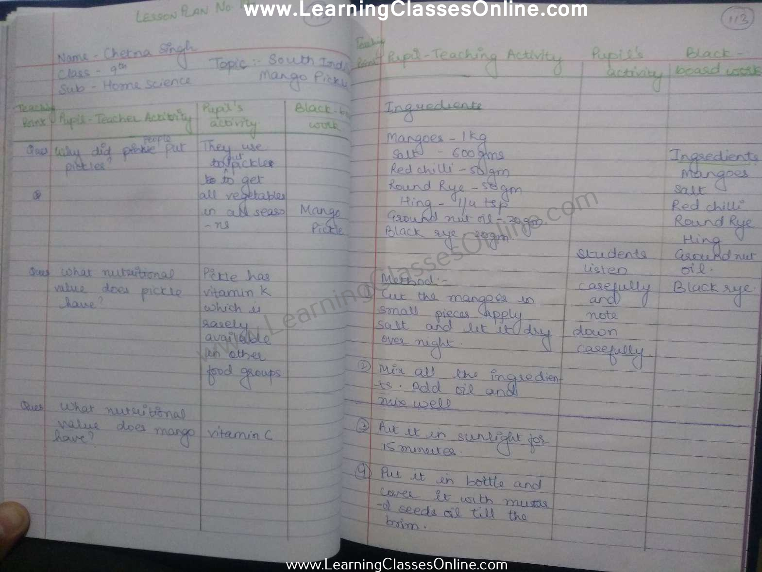 Mango Pickle Lesson Plan Class 10th in English Home Science Free download pdf