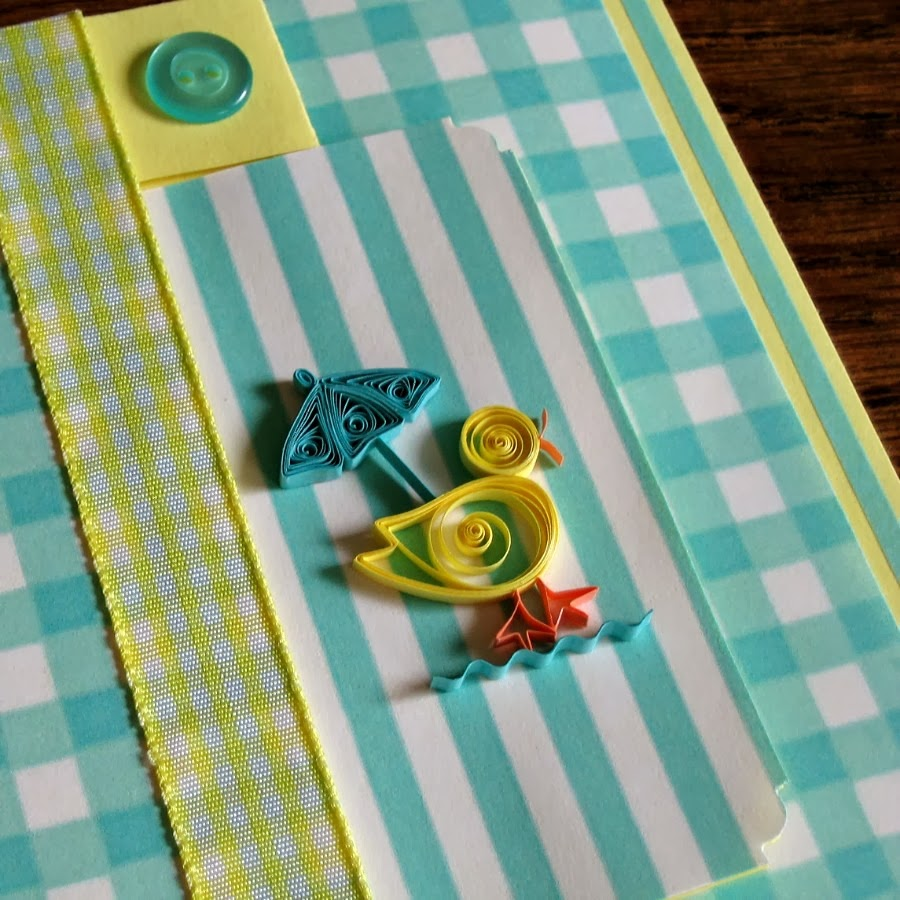 Quilled Duck with Umbrella Baby Shower Card