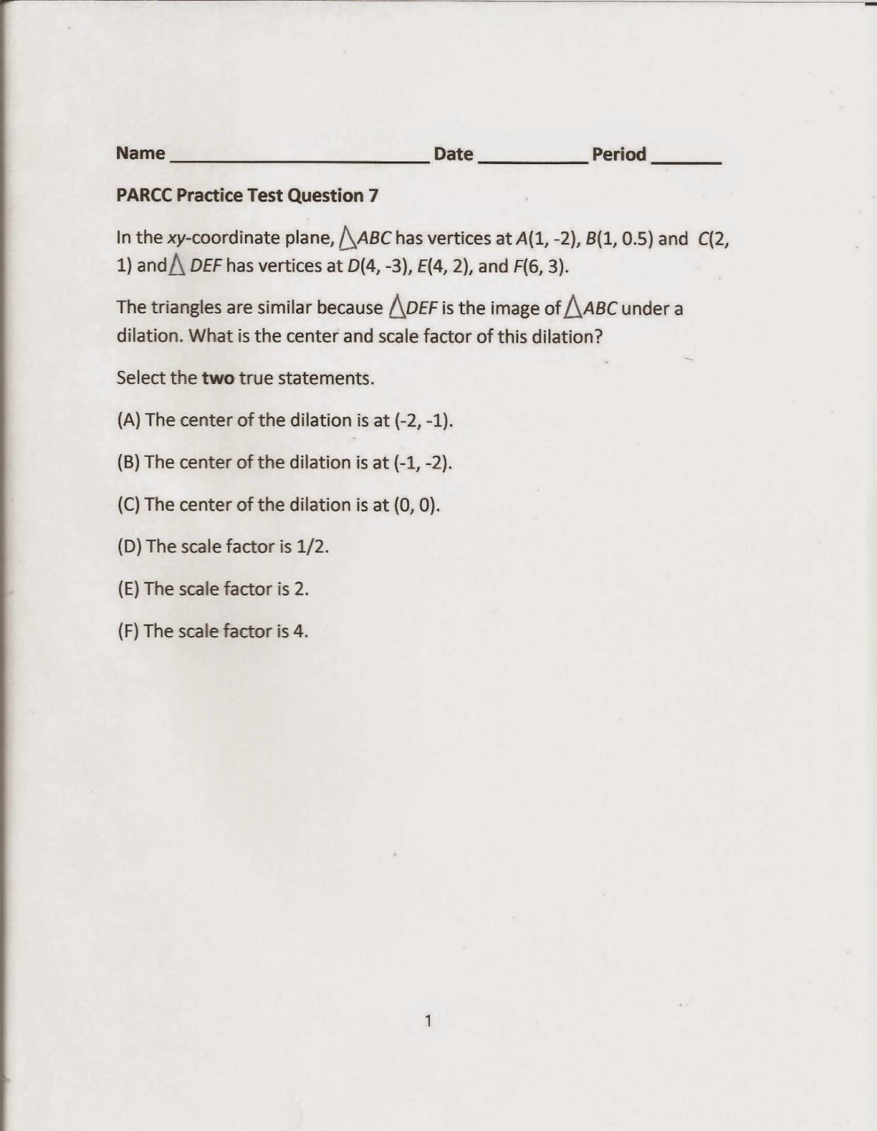 Geometry Common Core Style Parcc Practice Test Question