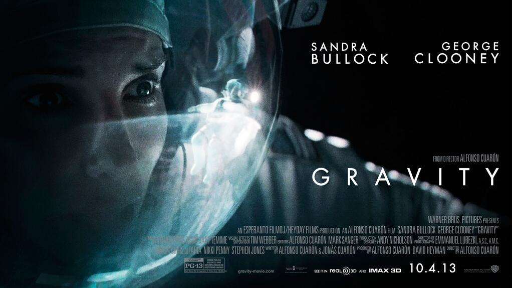 Sandra Bullock looking out from environmental helmet in close-up against black void with movie title, credits, and release date
