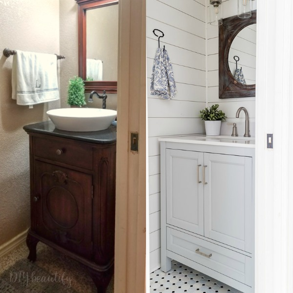 before and after farmhouse bathroom
